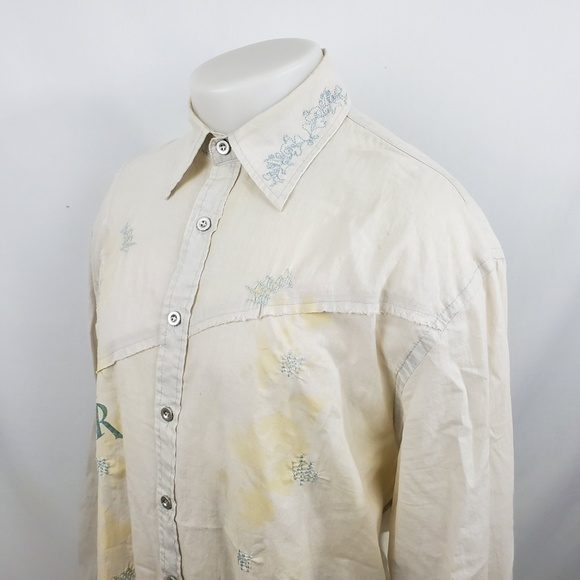 Roar Other - ROAR Men Button Front Shirt Sz 2XL L/S Beige Thin